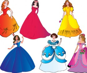 Different Princess design elements vector graphic 03