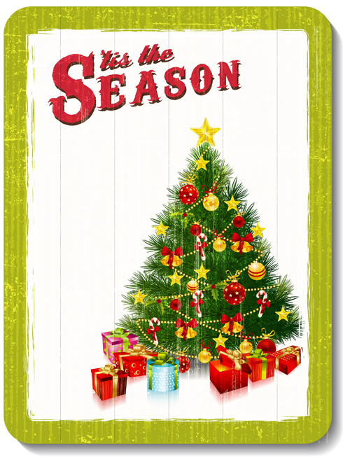 Retro Garbage Xmas card design vector set 04