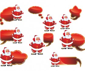 Santa and Speech Bubbles red texture vector