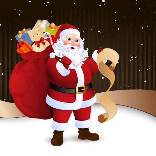 Amusing Christmas Santa Claus Elements Vector Set 03