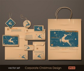 Set of Corporate Christmas design kit vector 01
