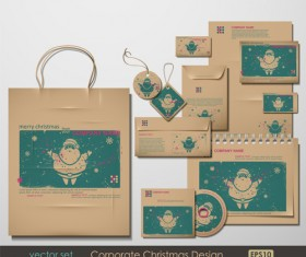 Set of Corporate Christmas design kit vector 02