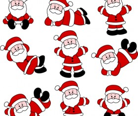 Various cute Santas elements vector material 02