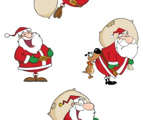Various cute Santas elements vector material 03