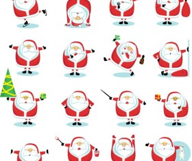 Various cute Santas elements vector material 04