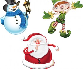 Various cute Santas elements vector material 05