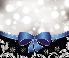 Shiny Christmas Backgrounds With bow design vector 01