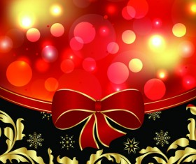 Shiny Christmas Backgrounds With bow design vector 02