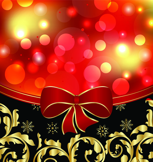 Free EPS file Shiny Christmas Backgrounds With bow design vector 02 ...