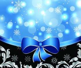 Shiny Christmas Backgrounds With bow design vector 03