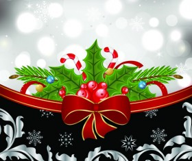 Shiny Christmas Backgrounds With bow design vector 05