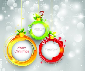 Shiny Christmas Pendant with decor design vector 04