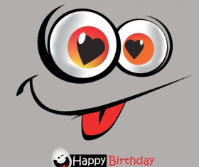 Set of Smile postcard Happy Birthday design vector 01