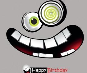 Set of Smile postcard Happy Birthday design vector 02