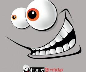 Set of Smile postcard Happy Birthday design vector 03