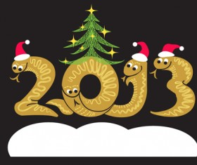 Year of Snake and Christmas design elements vector 02