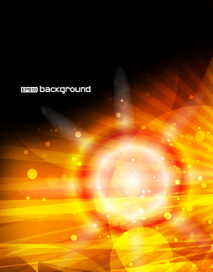 Vector set of Orange sunlight background art 04