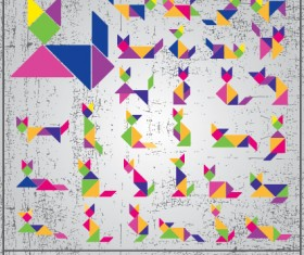 Set of Various Tangram figure vector 01
