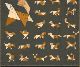 Set of Various Tangram figure vector 04