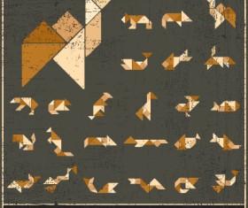 Set of Various Tangram figure vector 05
