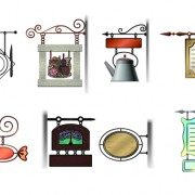 Link toVarious cafe signs vector material set 01