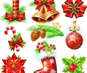 Set of Vintage Christmas and New Year 2013 decor Illustration Vector 02