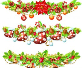 Set of Vintage Christmas and New Year 2013 decor Illustration Vector 04