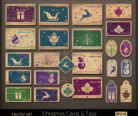 Vintage Christmas tags and cards design vector