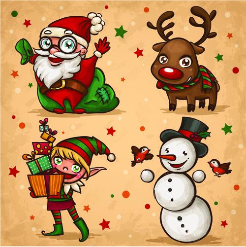 Vintage Cute Christmas design elements vector set 02
