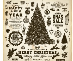 Vintage Hand drawn New Year and Christmas ornaments vector set 01