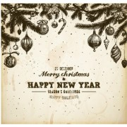 Link toVintage hand drawn new year and christmas ornaments vector set 02