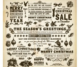 Vintage Hand drawn New Year and Christmas ornaments vector set 03