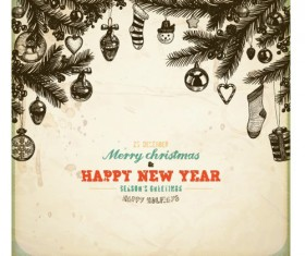 Vintage Hand drawn New Year and Christmas ornaments vector set 04