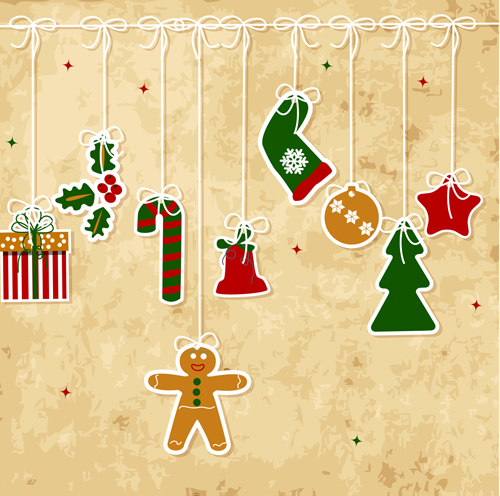 Attrayant Set Of Vintage Merry Christmas Cards Vector Graphics 04