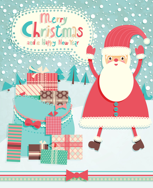 Set Of Vintage Merry Christmas Cards Vector Graphics 05