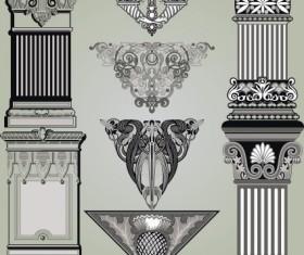 Vintage Symbols and Decoration Patterns vector set 01