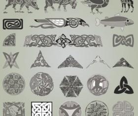 Vintage Symbols and Decoration Patterns vector set 03