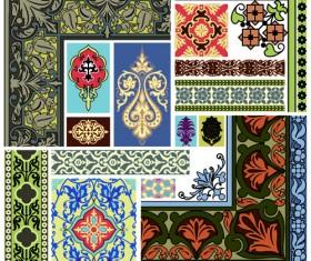 Elements of Vintage frames pattern vector material 03