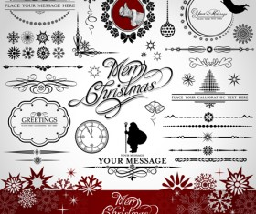 Set of Vintage xmas Decorative elements vector 01