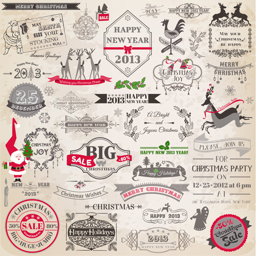 Set of Vintage xmas Decorative elements vector 02