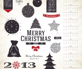 Set of Vintage xmas Decorative elements vector 03