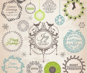 Set of Vintage xmas Decorative elements vector 04