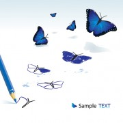 Link toVivid butterfly with pencil design vector