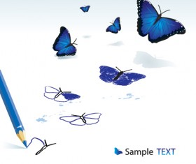 Vivid butterfly with pencil design vector