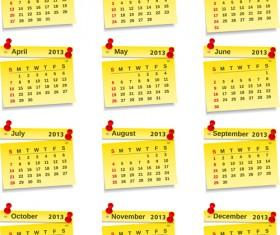 Vector set of Wall calendar 2013 design elements 01