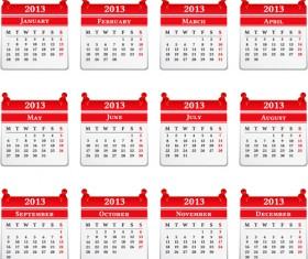 Vector set of Wall calendar 2013 design elements 02