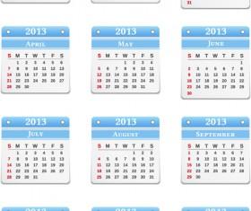 Vector set of Wall calendar 2013 design elements 03