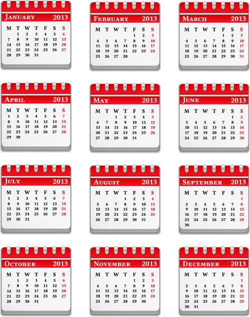 Vector set of Wall calendar 2013 design elements 04