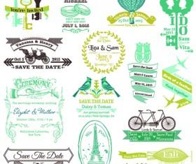 Set of Wedding logo Design Elements vector 01