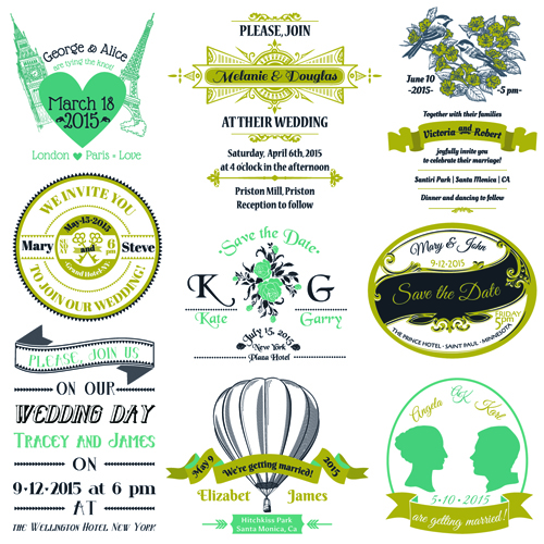 Set of Wedding logo Design Elements vector 02